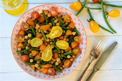 comment cuisiner les tomates salade de pois chiches haricots verts abricots tomates