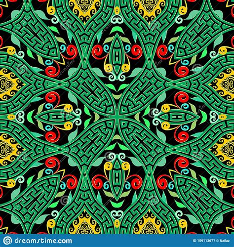 Greek Seamless Pattern Colorful Patterned Geometric