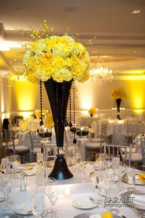 black and yellow centerpiece events yellow pinterest