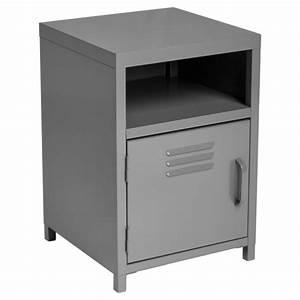 Table De Chevet Industriel : table de chevet m tal karel 50cm gris ~ Teatrodelosmanantiales.com Idées de Décoration