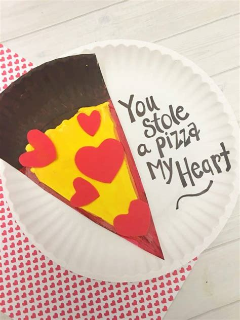 valentines day pizza paper plate craft  kids tutorial