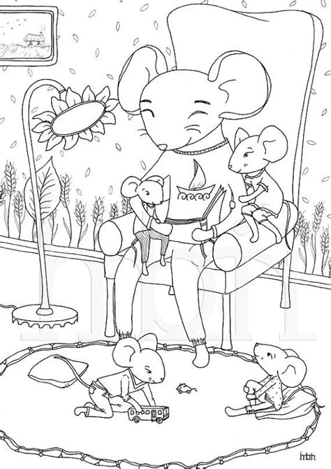 Colouring pages Mice family Printable Colouring Sheet by