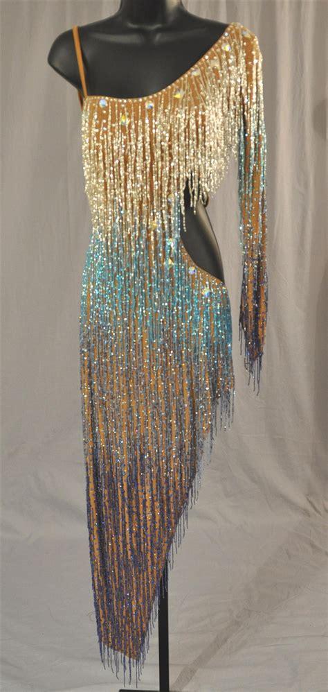 sexy hand  beads latin dress