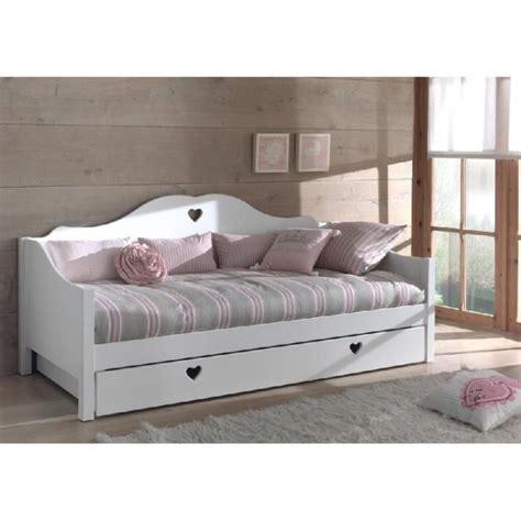 canapé tiroir lit canapé lit princesse 1place mdf blanc cœur achat
