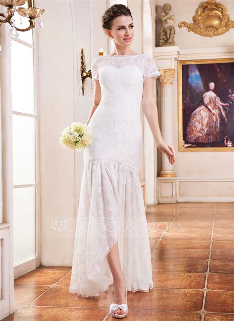 trumpetmermaid scoop neck asymmetrical lace wedding dress