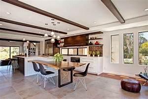 modele de cuisine contemporaine blanche et bois pour With deco cuisine avec salle À manger bois massif contemporaine