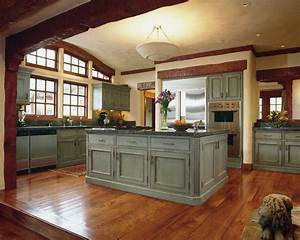 Light, Blue, Distressed, Kitchen, Cabinets