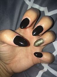 Black Acrylic Almond Nails