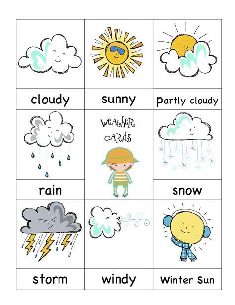 weather cards kindergarten preschool weather