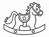 Horse Coloring Pages Rocking Clipart Cartoon Clip Cliparts Horses Cute Children Baby Outline Boomer Printable Cowboy Toys Print Patterns Colouring sketch template