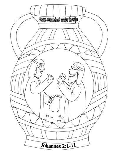 Kleurplaat Bruiloft Te Kana by Kleurplaten Categorie Jezus Kruik Water Wijn