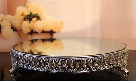 kingart large mirror  metal glass cake serving tray