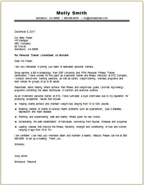 personal trainer cover letter sample monstercom