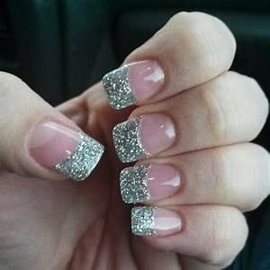 My pink gel nails with silver sparkle tips | Nails ...