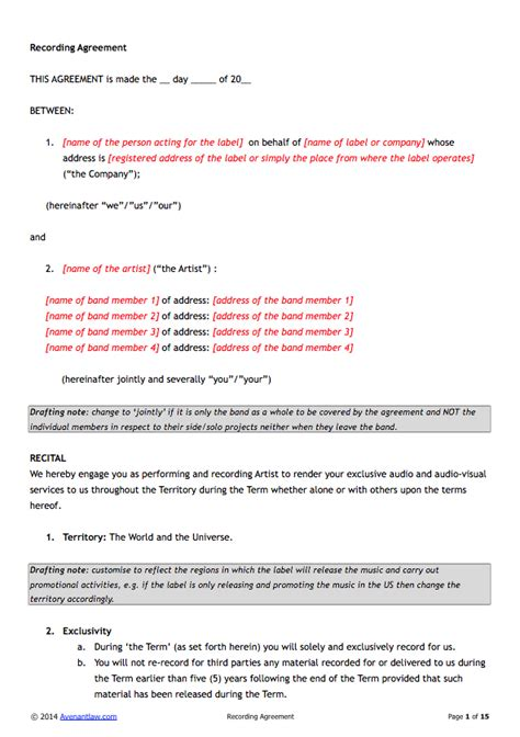 recording contract template exclusive recording contract template