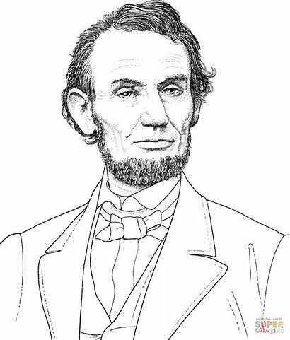 Coloring Printable Abraham Lincoln President Portrait Colorear