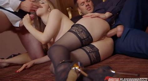 Elegant Sex With A Whore In Stockings Double Penetration