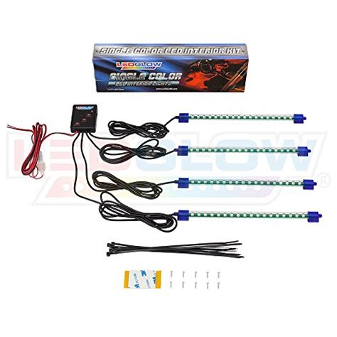 ledglow 4 piece 7 color ledglow 4pc blue led car interior underdash lighting kit