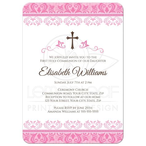 Elegant pink damask First Holy Communion / confirmation