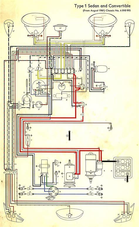 1967 Vw Beetle Wiring Diagram by Wiring Diagram In Color 1964 Vw Bug Beetle Convertible