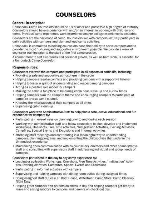 c counselor description