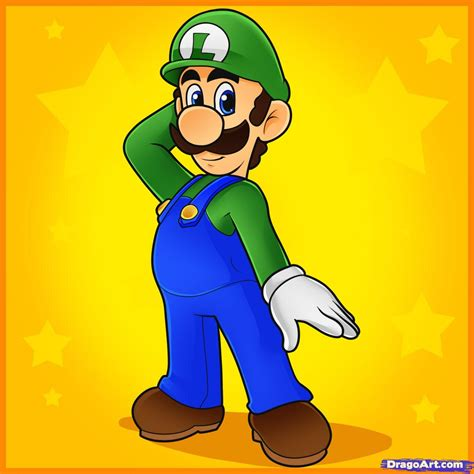 draw luigi step  step video game characters