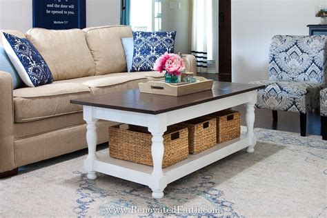 If you want a small farmhouse dining table with an interesting style, this diy farmhouse table plan from rogue engineer is brilliant to try. DIY Farmhouse Coffee Table with Turned Legs & Storage (Free Plans)