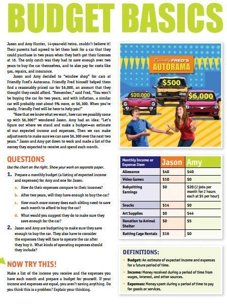 budget basics worksheet financial literacy for kids personal finance financial literacy