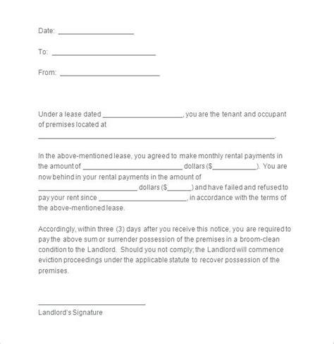 landlord notice  vacate template simplishinfo