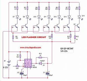 Led Flasher Circuit Diagram With 555