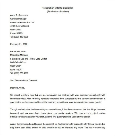 Sample sales services termination letter. contract termination letter template free sample example format sales agreement cancellation ...