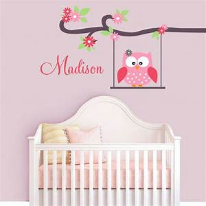 cute owl monogram custom name childrens nursery wall With cute owl wall decals for nursery