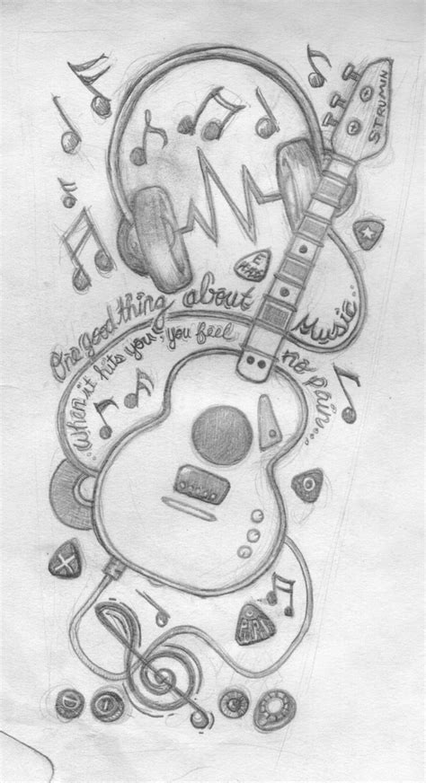 music designs | music sleeve by tinkat | Pencil art