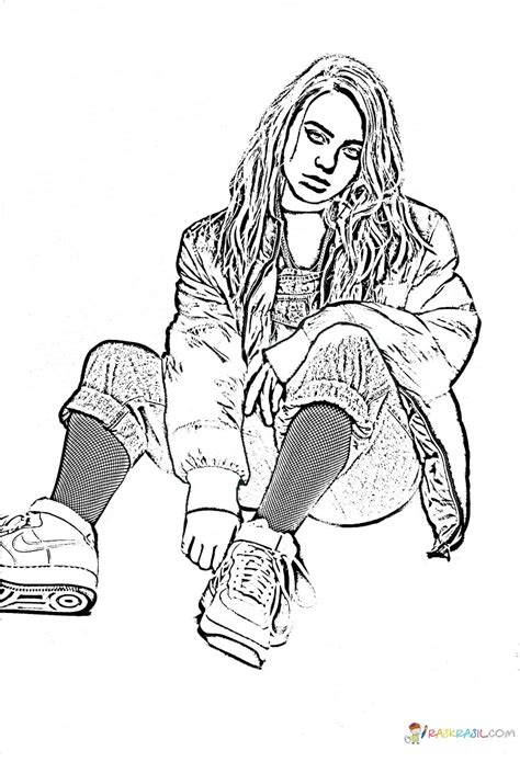 coloring pages billie eilish print  talented singer