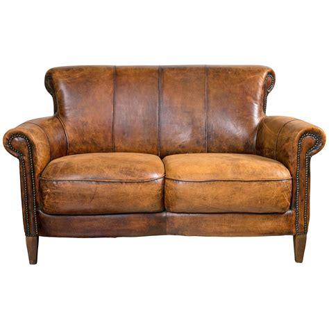 Vintage French Distressed Art Deco Leather Sofa At 1stdibs
