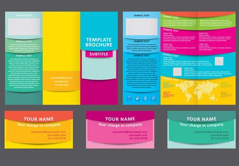 Colorful Brochure Templates by Colorful Fold Brochure Vector Template Free
