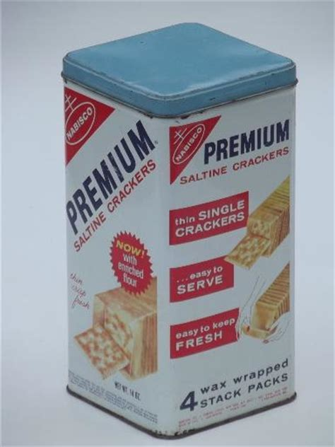 vintage cracker tin crackers canister advertising premium saltines dated 1969