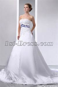 Special Elegant Ivory and Royal Blue Satin A-line Wedding ...