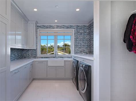 blue mosaic glass tiles contemporary laundry room