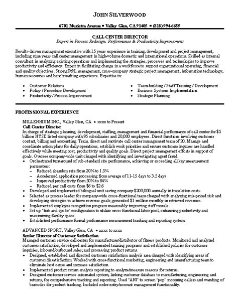 Call Center Description Resume by 10 Resume Sle For Call Center Writing Resume Sle
