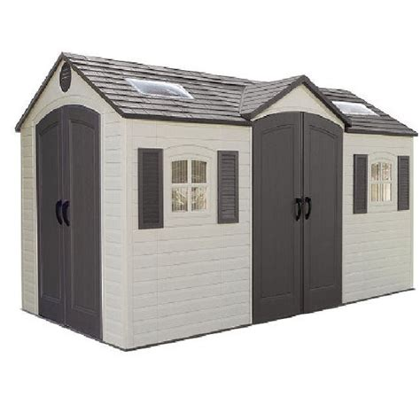 lifetime plastic shed 15 x 8 with double entry elbec