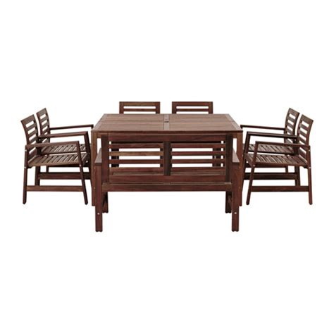 196 pplar 214 table 6 chairs armr bench outdoor brown stained
