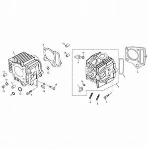 Cylinder  Cylinder Head  Adly Atv 90z2 4t  Gear Drive