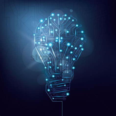 light bulb design circuit board wallpaper vector image