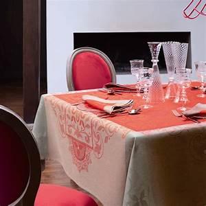 Nappe Jacquard Français : nappe venezia cornaline 100 lin nappes la table le ~ Teatrodelosmanantiales.com Idées de Décoration