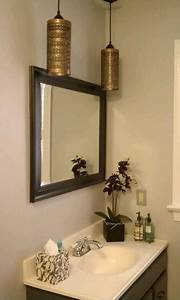 diy upcycled bathroom vanity area makeover hanging lights With kitchen cabinets lowes with covered candle holders