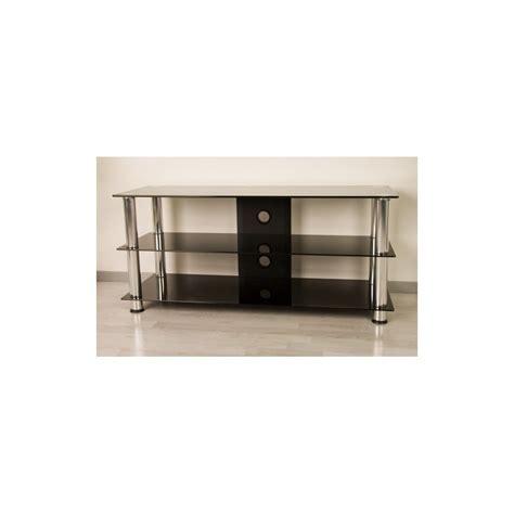 meuble tv en verre design meuble tv hifi design en verre noir 110cm avec pieds chrom 233 s