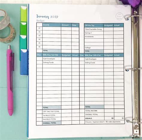 creating   budget binder  simply organized home