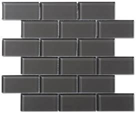 glass tiles for kitchen backsplash charcoal gray glass 2x4 mosaic subway tile