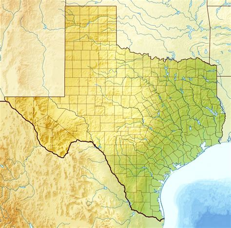 detailed relief map  texas state texas state usa